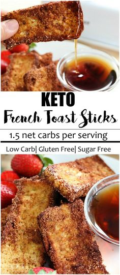 "Keto french toast sticks recipe, cinnamon ""sugared"", buttery and crisp. Make ahead and freeze to eat all week. Only 1.5 NET carbs."