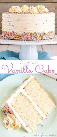 This Classic Vanilla Cake pairs fluffy vanilla cake layers with a silky vanilla . This Classic Vanilla Cake pairs fluffy vanilla cake layers with a silky vanilla buttercream. The perfect cake for bi Cupcake Recipes, Baking Recipes, Cupcake Cakes, Dessert Recipes, Layer Cake Recipes, Cake Recipes Good For Decorating, 2 Layer White Cake Recipe, Fancy Recipes, Cake Decorating Icing