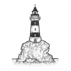 Lighthouse on rock cliff sketch engraving vector illustration. T-shirt apparel print design. Black and white hand drawn image. Mini Drawings, Cartoon Drawings, Cool Drawings, Black And White Sketches, Black And White Illustration, Cliffs Tattoo, Lighthouse Sketch, Sketch Design, Image Stock