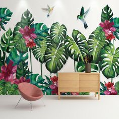 beibehang Custom wallpaper large mural wall stickers tropical plant turtle back hand painted watercolor background wall