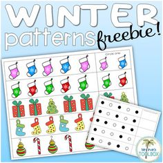 Use these pattern mat to practice patterning skills.- Winter pattern mat: laminate or slip into a plastic sleeve and use over and over again with a dry erase marker.- Pattern template: Use with mini-erasers or table scatter for year-round use.  AB, AAB, ABB, and ABC patterns are provided.These pages come from my Winter Work Boxes of Basic Skills.
