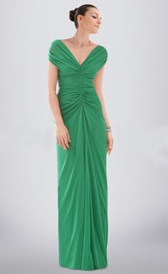 Stylish Draped Ruched V-neck Floor-length Chiffon Bridesmaid Dress
