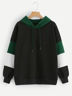 Shop Plus Cut And Sew Panel Hoodie online. SHEIN offers Plus Cut And Sew Panel Hoodie & more to fit your fashionable needs. Trendy Hoodies, Hoodies For Sale, Cool Hoodies, Green Hoodies, Hoodie Outfit, Hoodie Dress, Blusas Oversized, Plus Size Outerwear, Cool Outfits