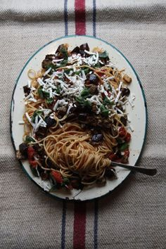 Rich and creamy caramelized eggplant feels hearty in this easy summer pasta dish.