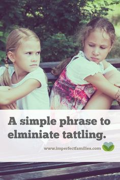 Tired of the tattling? Use this simple response to help your kids work out their challenges and eliminate the need to tattle. Healthy Eating For Kids, Kids Diet, Parenting Articles, Parenting Advice, Practical Parenting, Positive Parenting Solutions, Sibling Rivalry, Positive Discipline, Gentle Parenting