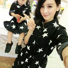1Pc Mother Daughter Dresses Clothes Family Matching Autumn Outfits Mom Girl Fashion Short Floral Sets vetement maman et fille XL