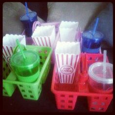 Who doesn't want their own treat ray ? Make movie night at home with the kids more fun with this nifty little idea. You can also use these food caddies in the car for long journeys or as organizers for the refrigerator