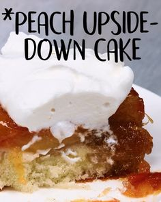 Peach Upside Down Cake -Tasty - Food Videos And Recipes Quick Dessert Recipes, Easy Cookie Recipes, Cupcake Recipes, Easy Desserts, Sweet Recipes, Delicious Desserts, Dinner Recipes, Peach Upside Down Cake, Upside Down Cakes