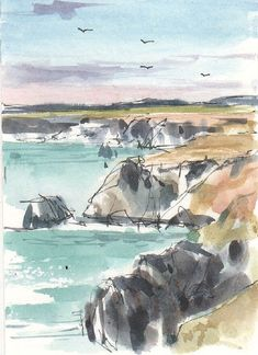 Original Watercolour Painting ACEO -Cornish Coast - by Annabel Burton