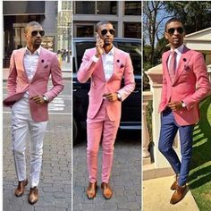 Custom Made Fashion Wedding Tuxedos Pink One Button Groom Suits Mens Groomsmen Slim Fit Best Man Prom Celebrity Wedding Suit Jacket +Pant Groom Tuxedo, Tuxedo For Men, Slim Fit Tuxedo, Groom Suits, Black Tuxedo, Groom Attire, Pink Tuxedo, Groomsmen, Prom For Guys