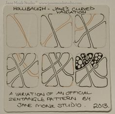 "Day Fifteen   I love drawing Hollibaugh and love even more to make it curved and envelope the whole tile.  I also love the pattern ""Jetti..."