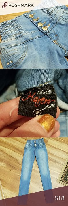 """Insanely awesome, bedazzled, VINTAGE, harem jeans! Omg. These rule. High waisted. Button closure. Faux pockets. Stretchy fabric. Laying flat waist is 10.5"""" unstrecthed. Can stretch to be up to 13"""". 8"""" rise. 30"""" inseam. Stains throughout. (See 7th pic). Haven't been spot cleaned. Imperfections reflected in price. Vintage Jeans"""