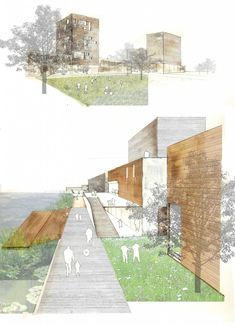 Architectural Drawing Design Yemin Yin – MA Urbanism @ University of East London - Relationship between buildings and open space, riverside Architecture Design, Architecture Presentation Board, Architecture Collage, Architecture Graphics, Architecture Student, Architecture Drawings, Presentation Design, Landscape Architecture, Landscape Design