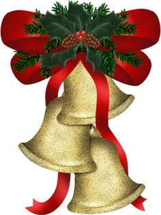 CHRISTMAS GOLD BELLS WITH HOLLY AND RED BOW CLIP ART