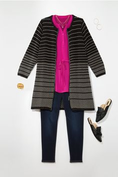 This duster would be cute and comfy for church, but not with stripes. I have embroidered mules similar to these.