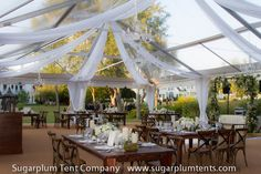 This clear tent with white tulle and dark farm furniture has a vintage vibe that's thoroughly modern and elegant.