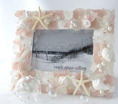 Beach Decor Sea Glass Seashell Frame - Nautical Decor Shell Pink Frame w Beach Glass, Seashell Picture Frames, Seashell Frame, Glass Picture Frames, Beach Frame, Seashell Crafts, Starfish, Seashell Projects, Seashell Art, Beach Crafts