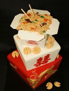 Chinese take-out wedding cake.