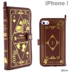 Disney Cell Phone Book Type Case For iPhone 5 5S 5C Alice in Wonderland Brown