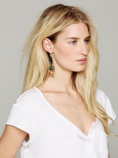 De Petra Leather and Stone Drop Earrings at Free People Clothing Boutique