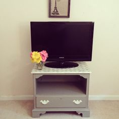 French Linen TV Stand or Nightstand - chalk painted furniture, shabby chic furniture, bedroom, stenciled, shabby chic furniture on Etsy, $165.00