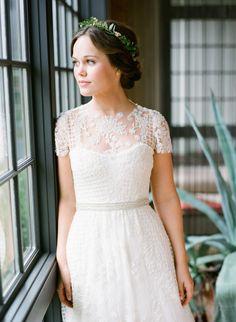 Lace embroidered illusion neckline: http://www.stylemepretty.com/2015/10/07/cozy-fall-winvian-wedding/ | Photography: Heather Waraksa - http://heatherwaraksa.com/