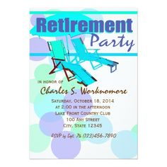 Shop Retirement Party Lounge Chairs Invitation created by happygotimes. Retirement Party Invitations, Retirement Parties, Custom Invitations, Beach Chairs, Lounge Chairs, Lounge Party, Event Marketing, Colored Envelopes, Envelope Liners