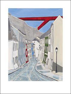 Off-set print by Ben Carter, 'Red Bridge', 30x40cm, €200 incl. delivery, www.bencarter.eu #art #landscape #painting #bridge