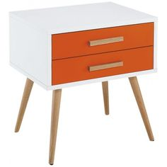Diamond Sofa Tangent 2-Drawer Accent Table with White Top, Orange Drawers and Oak Legs