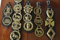 Collection Brass Horse Medal Medallion/Vintage Show Horse Decoration/Equestrian Bridle Brass/Set of 16 on Leather Strap /British Phalera on Etsy, $159.00