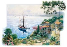 The bay Canvas Art - Peter Motz x Meer Illustration, Canvas Art, Canvas Prints, Art Prints, Pintura Exterior, Puzzle Art, Puzzle 1000, Arts And Entertainment, Counted Cross Stitch Patterns