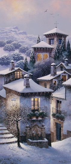Spanish snow village, painted by Luis Romero                                                                                                                                                      More