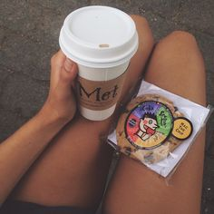 afternoon snacks  soy chai latte and a vegan chocolate chip cookie #Padgram