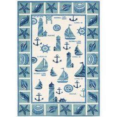 Shoreline Lighthouse and Boat Ivory/ Blue Polyester Rug (5' x 7')