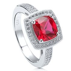 Sterling Silver Cushion Cut Simulated Ruby Cubic Zirconia CZ Halo Womens Engagement Ring available at joyfulcrown.com