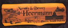Cedar Sign - Heermann Photo | Cedar Signs by CedarSlabSigns.com Lake House Signs, Cabin Signs, Cottage Signs, Home Signs, Pierre South Dakota, Commercial Signs, Camper Signs, Local Craft Fairs, Family Name Signs