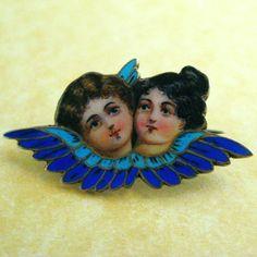 Exquisite Antique German Art Nouveau Silver Enamel Cherubs Angels Brooch | eBay, $425.00