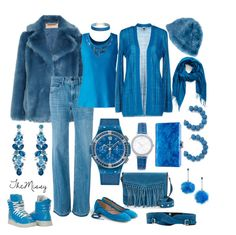 """Tone on Tone, I Got The Blues"" by caroline-buster-brown ❤ liked on Polyvore featuring MICHAEL Michael Kors, J.Crew, Helmut Lang, Lands' End, M Missoni, Rebecca Minkoff, Cassin, Nordstrom, Hublot and Michael Kors"