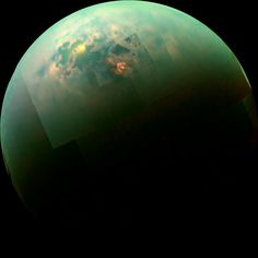 NASA's Cassini orbiter captured summer arriving on Titan's north pole with evidence of methane rain, though that rain appears to have fallen with no clouds in sight. Nasa Photos, Moon Photos, Space Solar System, Planets And Moons, Saturns Moons, Space Story, Epic Pictures, Space And Astronomy, Earth From Space