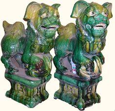 Ceramic Chinese Foo Dog Statues - Oriental Furnishings
