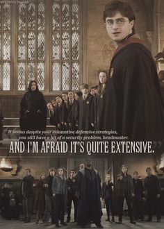 Harry gave a great speech... I love this moment when everyone in the great hall is just so dumbstruck that Harry Potter came back to Hogwarts.