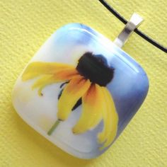 Black Eyed Susan - Fused Glass Necklace - by LaWathasGlass