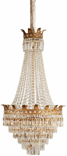 Isabella Chandelier from Collection Ten by @ebanistacollect. 6-light chandelier. Acanthus leaf gold upper and center banding. Graduated crystal beading and suspended 6 tier crystal prisms. Discover more at www.ebanista.com