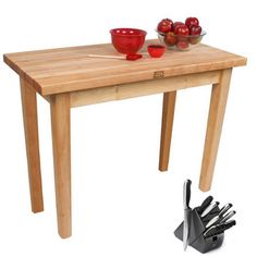 John Boos Rolling Country Maple 48 x 24 Kitchen Work Table and Henckels 13-piece Knife Block Set