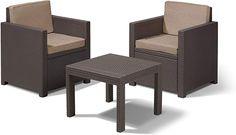 """Schöne Balkonmöbel  Durch die kompakten Abmessungen eignet sich das Koll Living Balkonset """"Gloria"""" besonders gut an den Orten, an denen nicht übermäßig viel Platz vorhanden ist. Das Set besteht aus zwei Stühlen und einem viereckigen Tisch in Korbdesign. Die Lieferung erfolgt inkl. Sitz- und Rückenkissen. Artikelmerkmale > 2 Sessel und 1 Tisch > aus UV- und wetterbeständigem Kunststoff in Rattan-Optik > Farbe: braun > Maße Sessel: 63 x 65 x 77 cm (BxTxH) > Sitzhöhe: 39 cm > Sitzbreite: 51 cm… Outdoor Sofa, Outdoor Furniture, Outdoor Decor, Graphite, Curved Sofa, Garden Furniture Sets, White Sofas, Living Room Seating, Sofa Sale"""