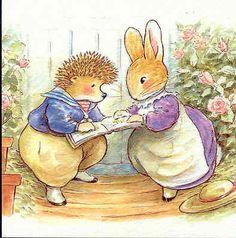 Rabbit Hedgehog Reading Book About Garden Herbs Roses Foxwood Tales Postcard   eBay