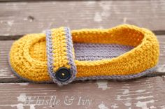 Whistle and Ivy: Women's Button Strap Slippers crochet pattern