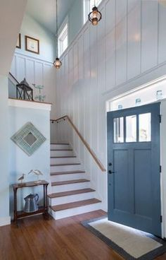 This beach home entry with its batten board and blue door is close to perfection! House of Turquoise: Caldwell and Johnson. House Design, House, Cottage Style, Home, Beach House Interior, House Styles, Beach Cottage Style, Cottage Interiors, Coastal Bedrooms
