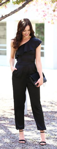 LOVE a good jumpsuit that fits perfectly and is so flattering! The one shoulder ruffle detail is beautiful on all body types! From Dynamite Clothing and less than $60! By Fashion blogger Marie's Bazaar