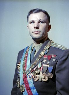 Formal portrait of Yuri Gagarin (1934 – 1968), a Russian cosmonaut, the first human in space.